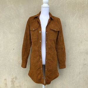 F21 suede long jacket